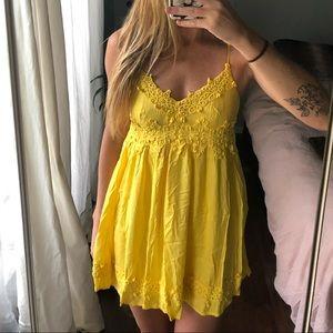 Yellow summer mini dress